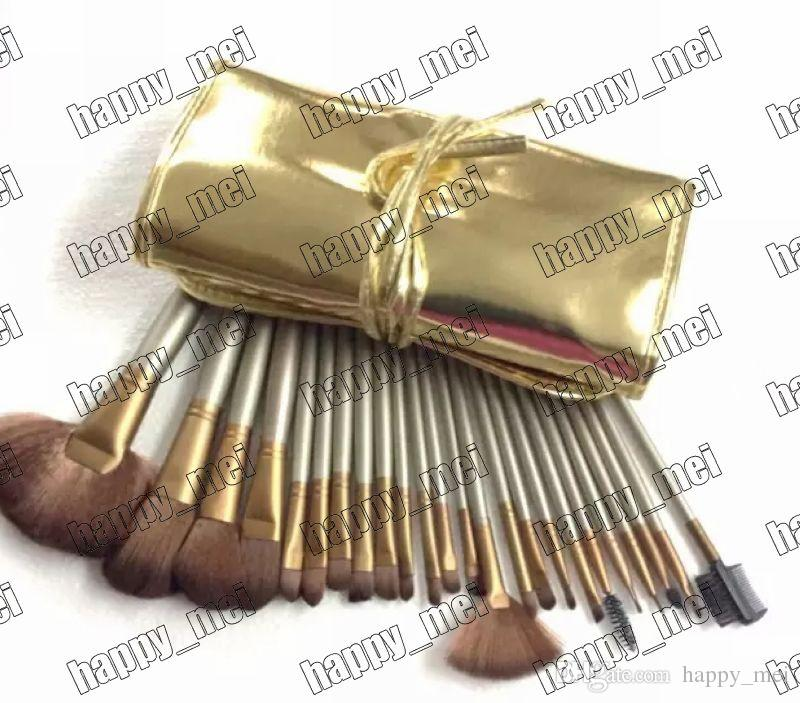 Factory Direct DHL New Makeup Brushes Nude 3 Brushes Brush With Gold Leather Pouch!