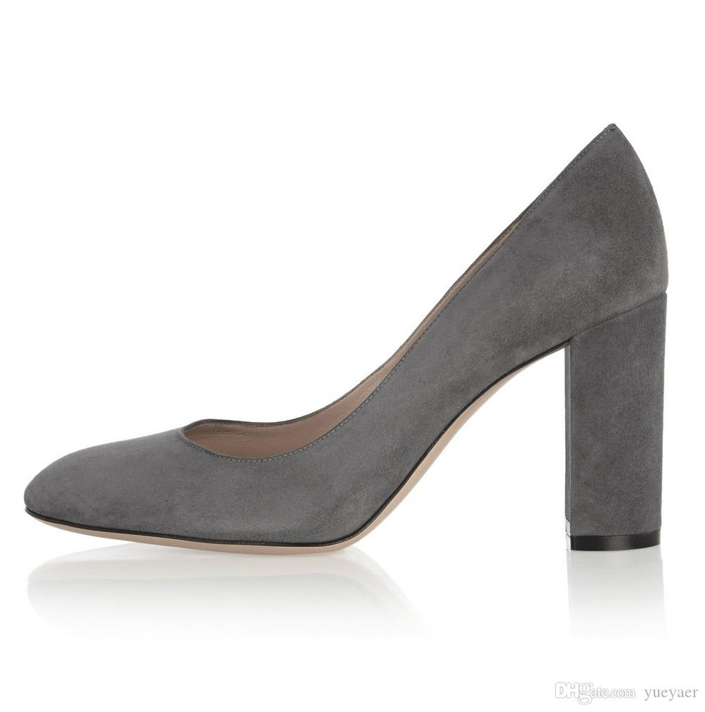 Zandina Ladies Handmade Fashion Thick Block Heel Closed Toe High Heel Party Office Pumps Shoes Darkgray