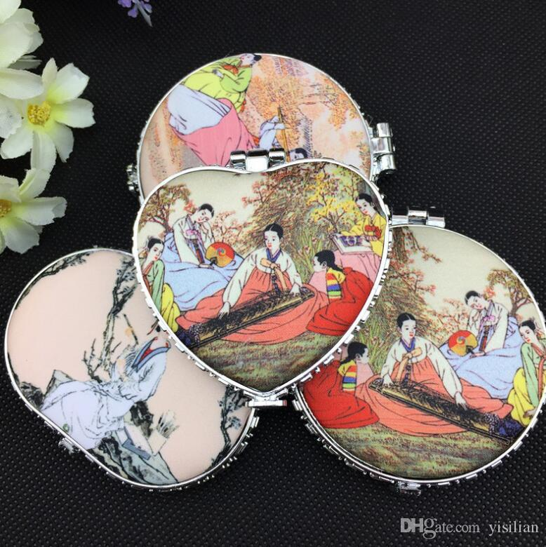 High quality Chinese ancient wind beauty ladies figure silk portable double-sided folding makeup mirror HM013 as your needs