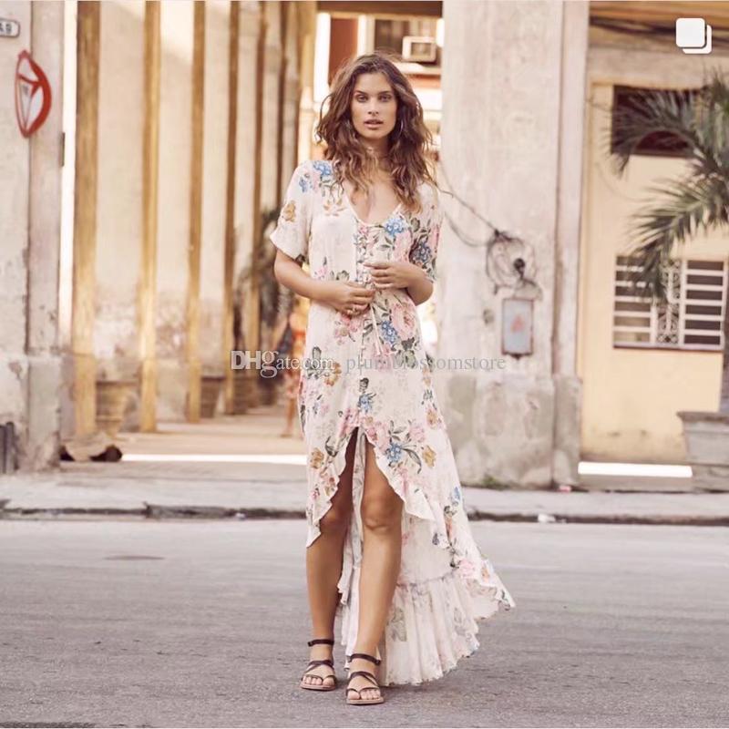 5a8900a7704 Boho maxi Vestidos de 2017 rayon e algodão Estampa floral verão boêmio  praia vestido de manga curta grande balanço Do Vintage mulheres vestido  Vestidos novo
