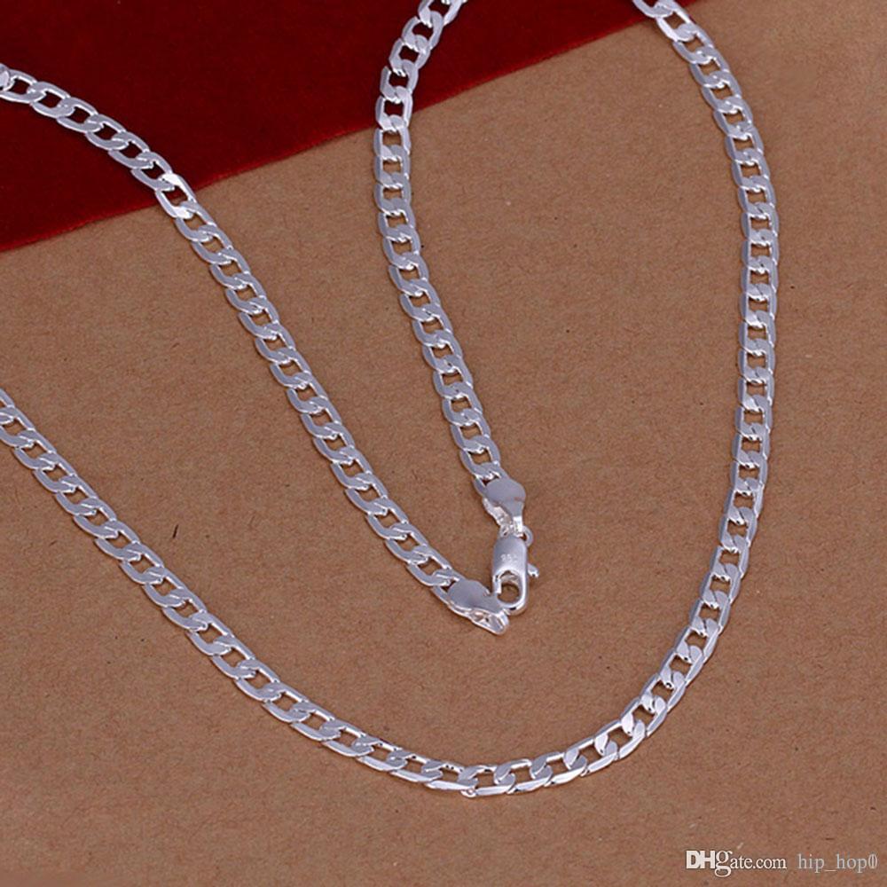 860b80b572be Compre Varón 4mm Simple 16 24inch Multi Tamaños Collar De Plata De Forma  Geométrica 925 Collar De Plata De Ley Generoso Hombres Hombres De Regalo  Joyería ...