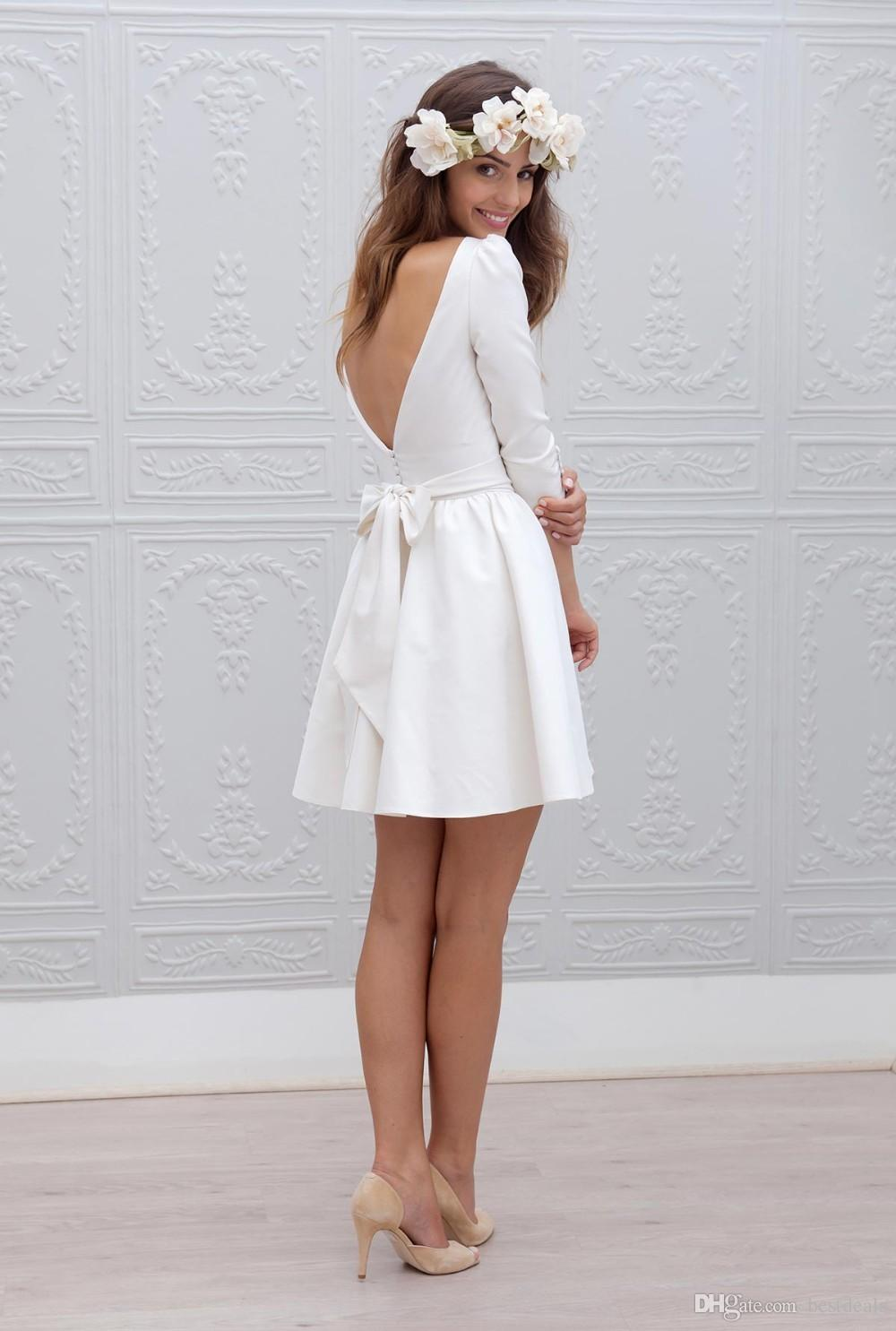 Designer Short Mini Reception Wedding Dresses 2017 A-line 3/4 Sleeves Sash Simple Sexy Open Back Casual Informal Bridal Gown New