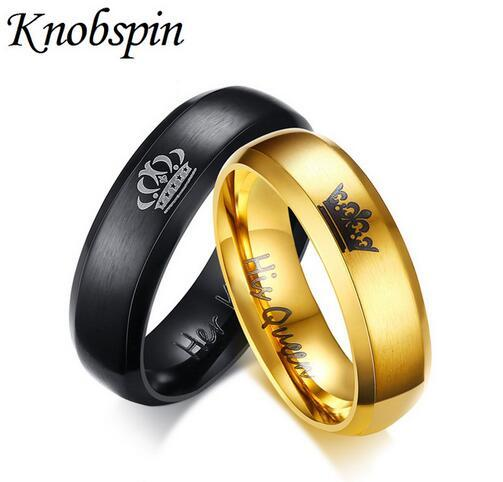 king and queen couple rings black gold color stainless steel crown jewelry for couples lovers love promise rings for men women white gold wedding bands - Black Gold Wedding Ring