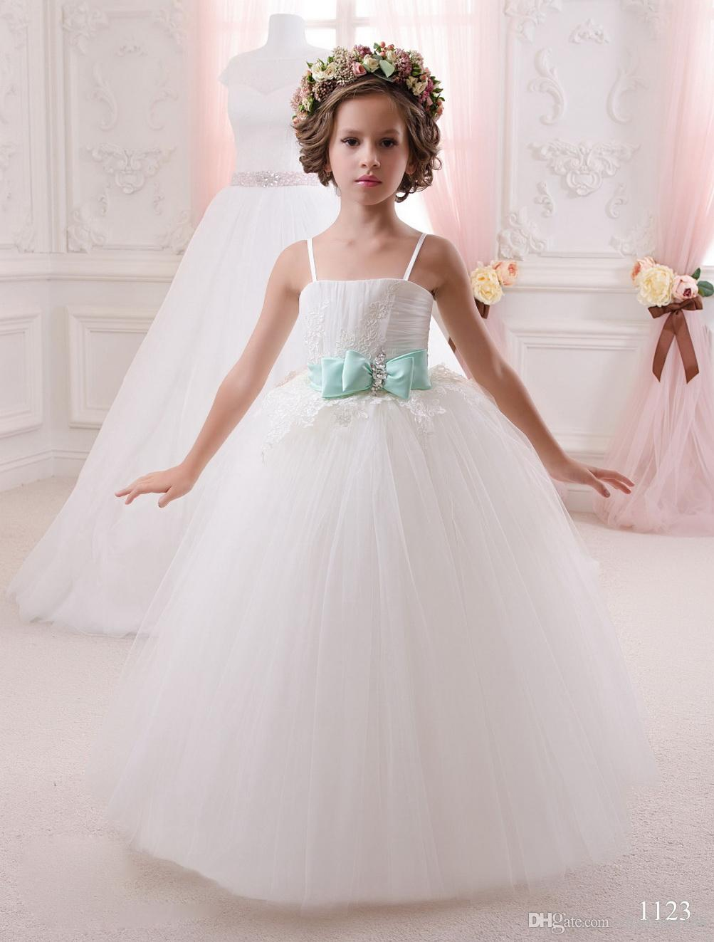 2019 Nueva Wihte Lace Beaded Flower Girl Vestidos Mint Green Bow Vestidos De Comunion Para Ninas Flower Dress