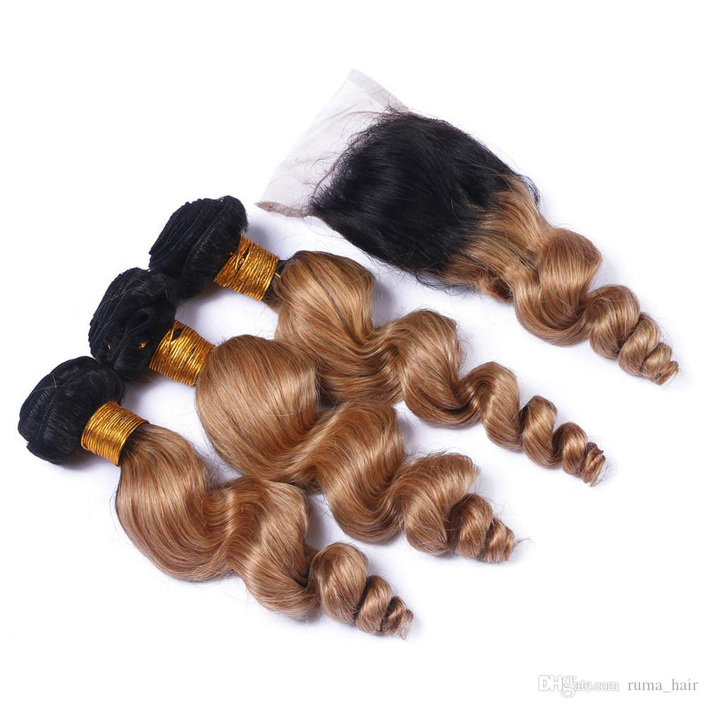 Brazilian Loose Wave Hair Bundles with Clsoure Human Virgin Hair Loose Curly Two Tone 27 Honey Blonde Loose Wave Hair Bundles For Sale