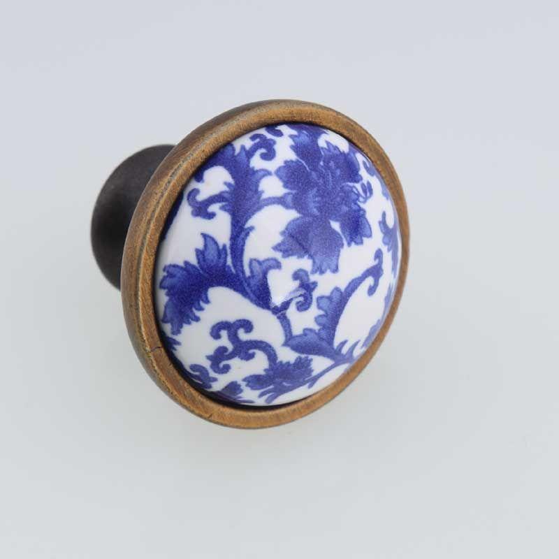96mm blue wave white and blue porcelain fashion vintage furniture handles bronze kitchen cabinet drawer dresser door pulls