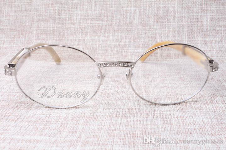 2017 nova moda retro high-end diamante branco Gado chifres óculos T7550178 de óculos modelos masculino e feminino redondas, tamanho: 57-22-135mm