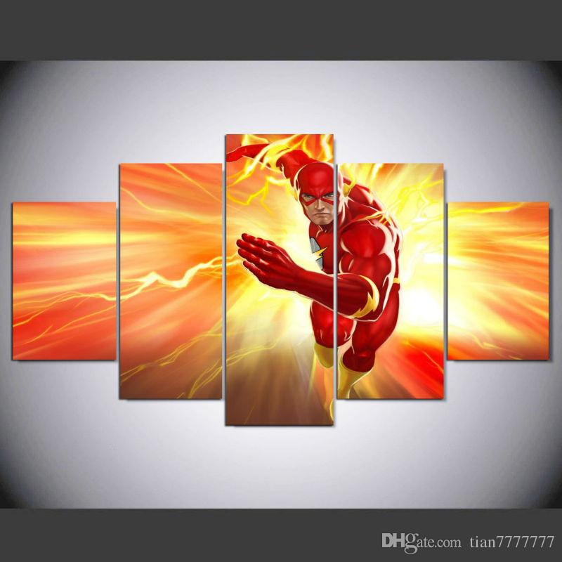 5 Panel Wall Art 2017 the flash canvas painting 5 panel wall art print poster