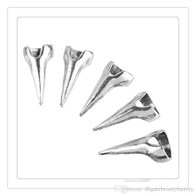 GroßhandelsFingerspitzen-Ringe gotischer Punkrock-Art-Talon-Spike-Greifer-Silber überzogene Metallnagel-Kunst-Dekoration-Frauen-Mädchen-Greifer-Schmuck DHL