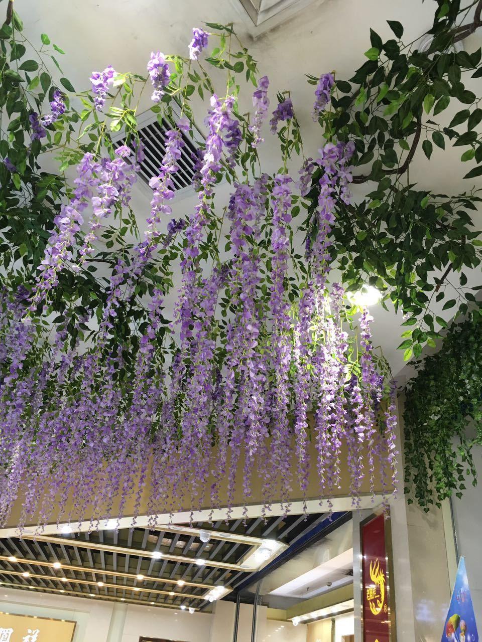Noel Bahçe 110 cm Wisteria Parti Düğün Dekor 5 renkler Parti Düğün için Yapay Dekoratif Çiçekler Garlands Ev