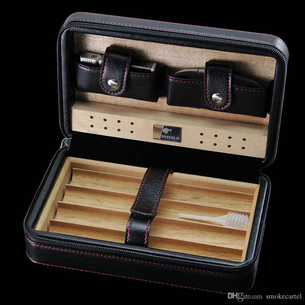 COHIBA Black Leather Cedar Lined Cigar Case Cigarette Humidor with Cutter & Lighter Cugar Scissor for smoking