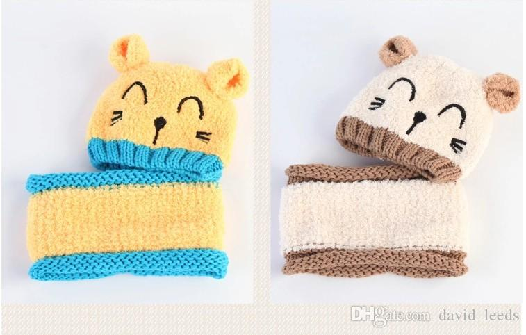 2017 New Autumn Winter Baby Boys Girls Cartoon Wool Embroidery Hats Kids Knitted Warm Earmuffs Hat Children Caps Retail