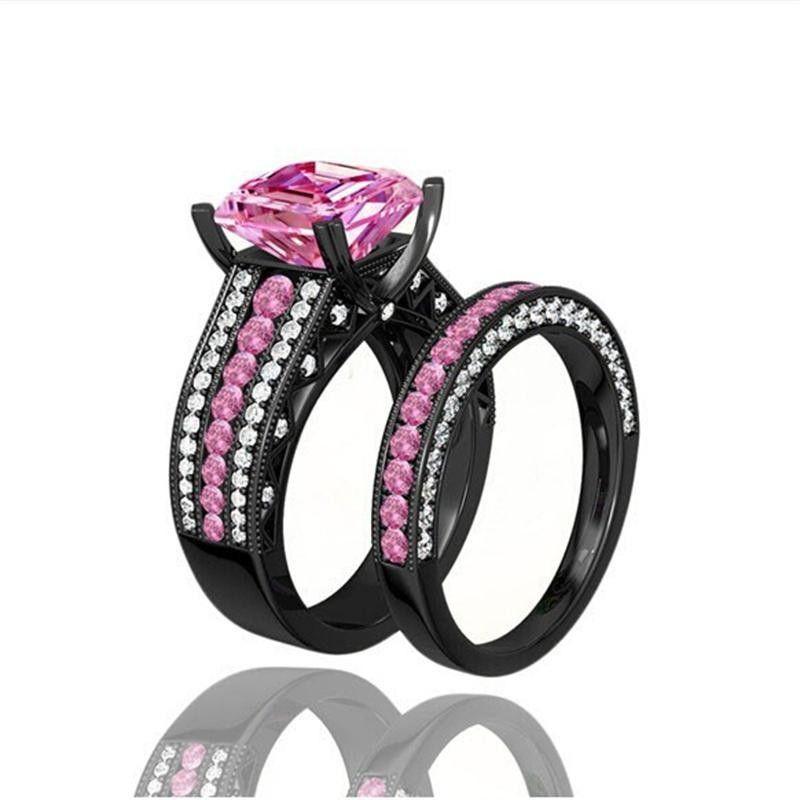 Vendita calda Incredibile qualità turca fidanzamento paio di anelli con zaffiro rosa 10KT nero riempito d'oro anelli, spedizione gratuita