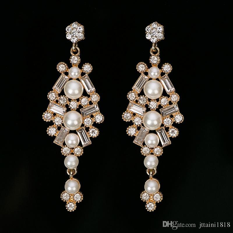 Fashion New Dresses Wedding Jewelry Women pear drop Earrings Bijoux Genuine Elements Austrian Crystal Earring #E312