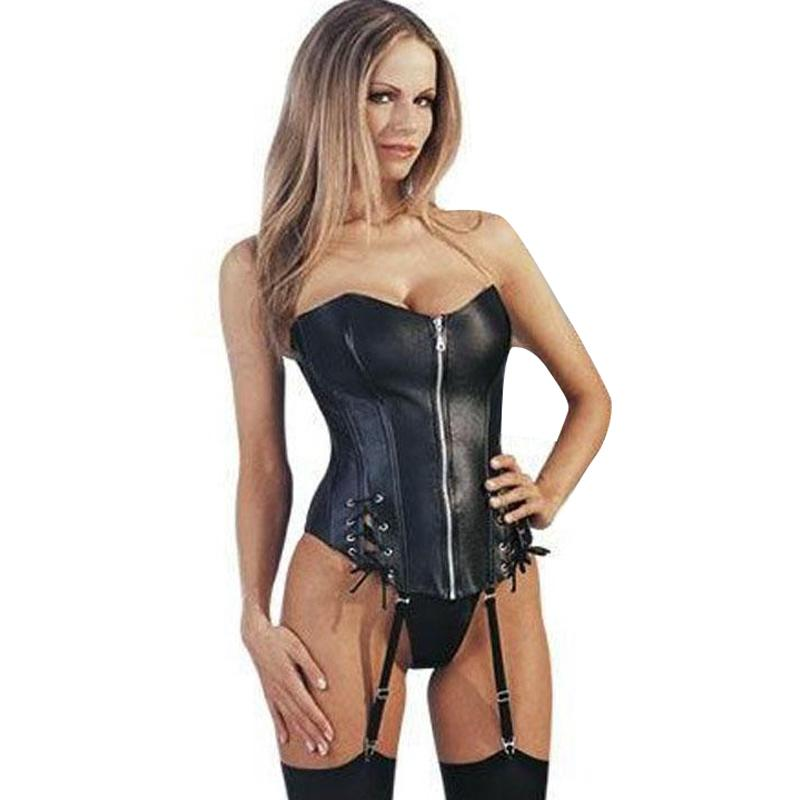 4e53c8784d Black Strapless Faux Leather Sexy Corset Front Zipper Women Bustier S-XL  W1152 Bustiers Corsets Sexy Online with  26.43 Piece on My11 s Store