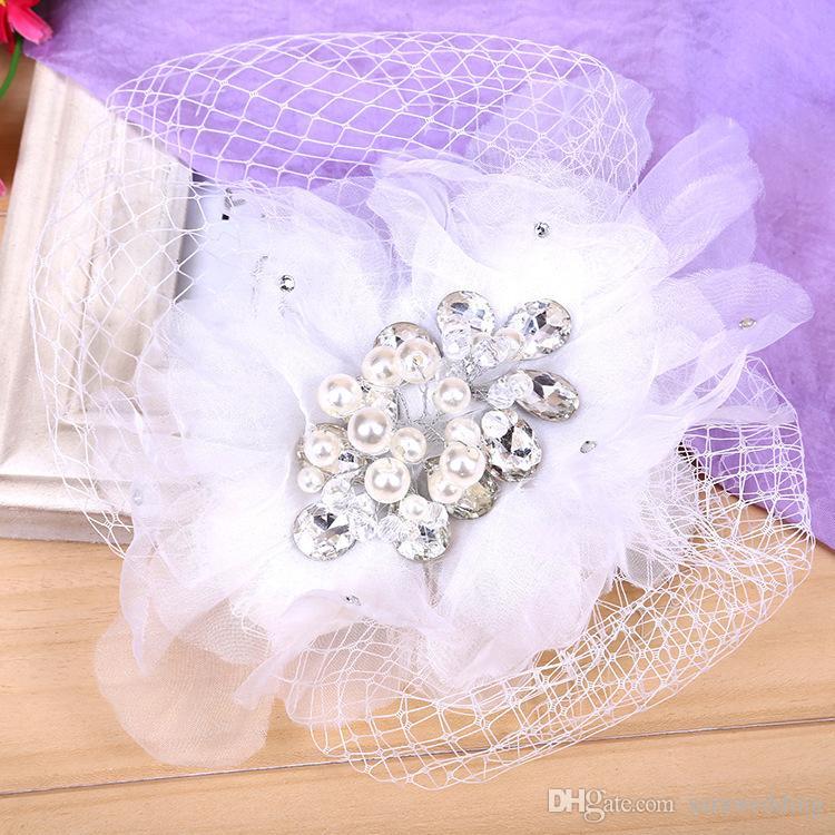 Wedding Bridal Bridesmaid Handmade Lace yarn pearl Hair Claws Diamond Tiara Hair band Hairpin Headdress Fashion Hair Jewelry Accessories