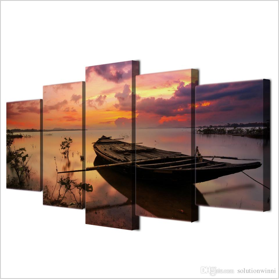 Framed Printed Sunset Boat Silence Lake Poster Modern Home Wall Decor Canvas Picture Art HD Print Painting