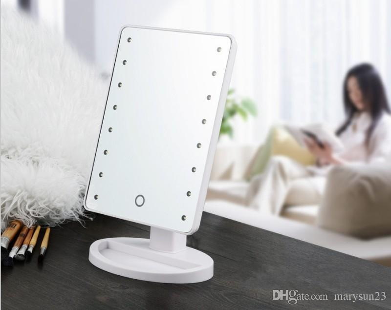 Led Makeup Mirror Make Up Rotatable For Desk 16 Built In Lights  Adjustable White Box Vanity Mirrors With Wall Mounted