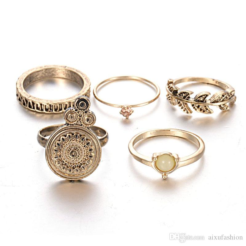 반지 세트 패션 복원 고대 방법 도금 합금 잎 개성 조합 진주 반지 도매 여성 반지 보석 세트