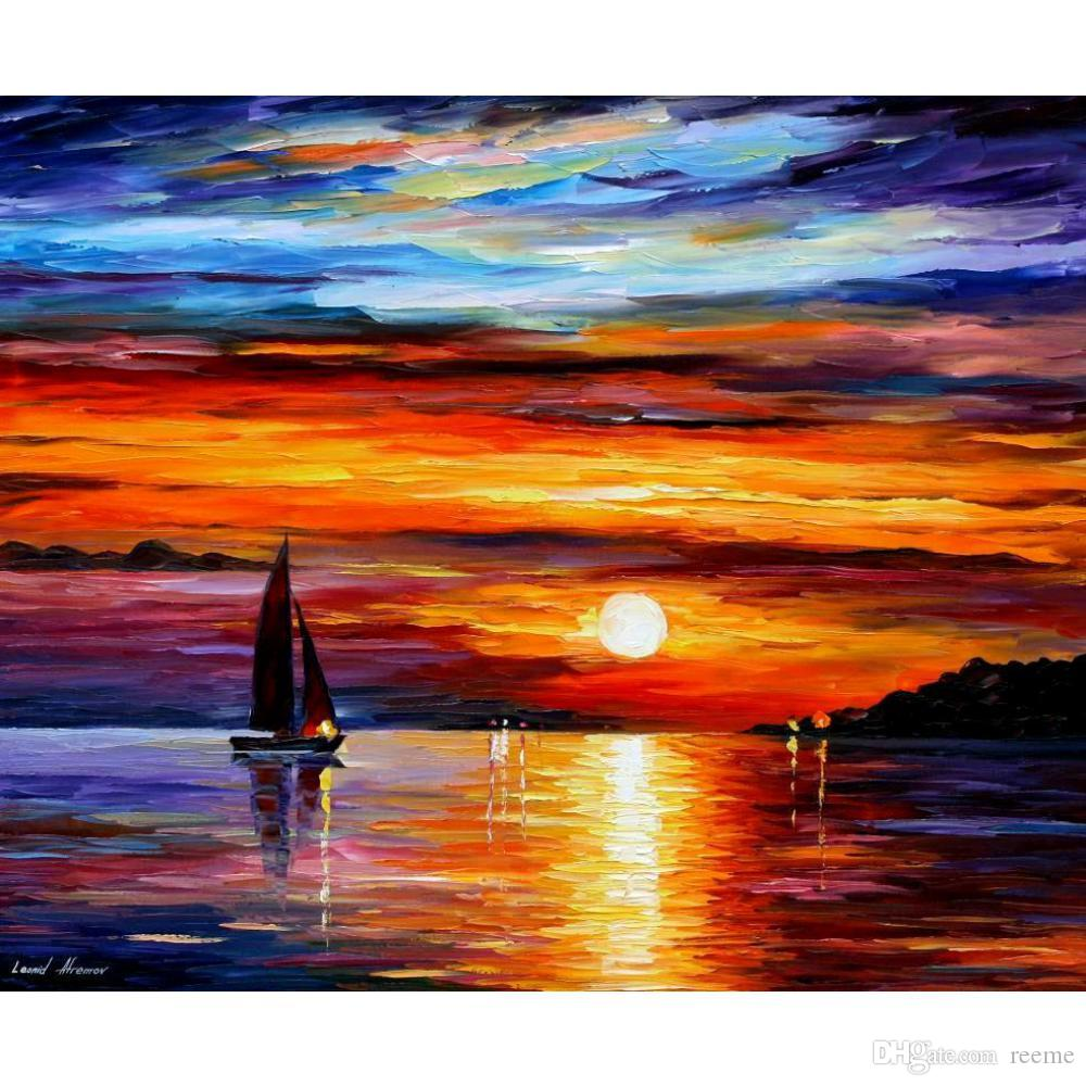 Ocean Sunset Oil Paintings