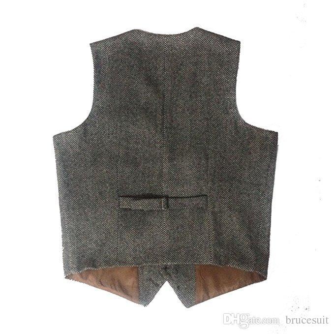 2016 British style Grey Wool Herribone Tweed Groom Vests Vintage Custom Made Men's Suit Waistcoat Slim Fit Blazers Wedding Suits For Men
