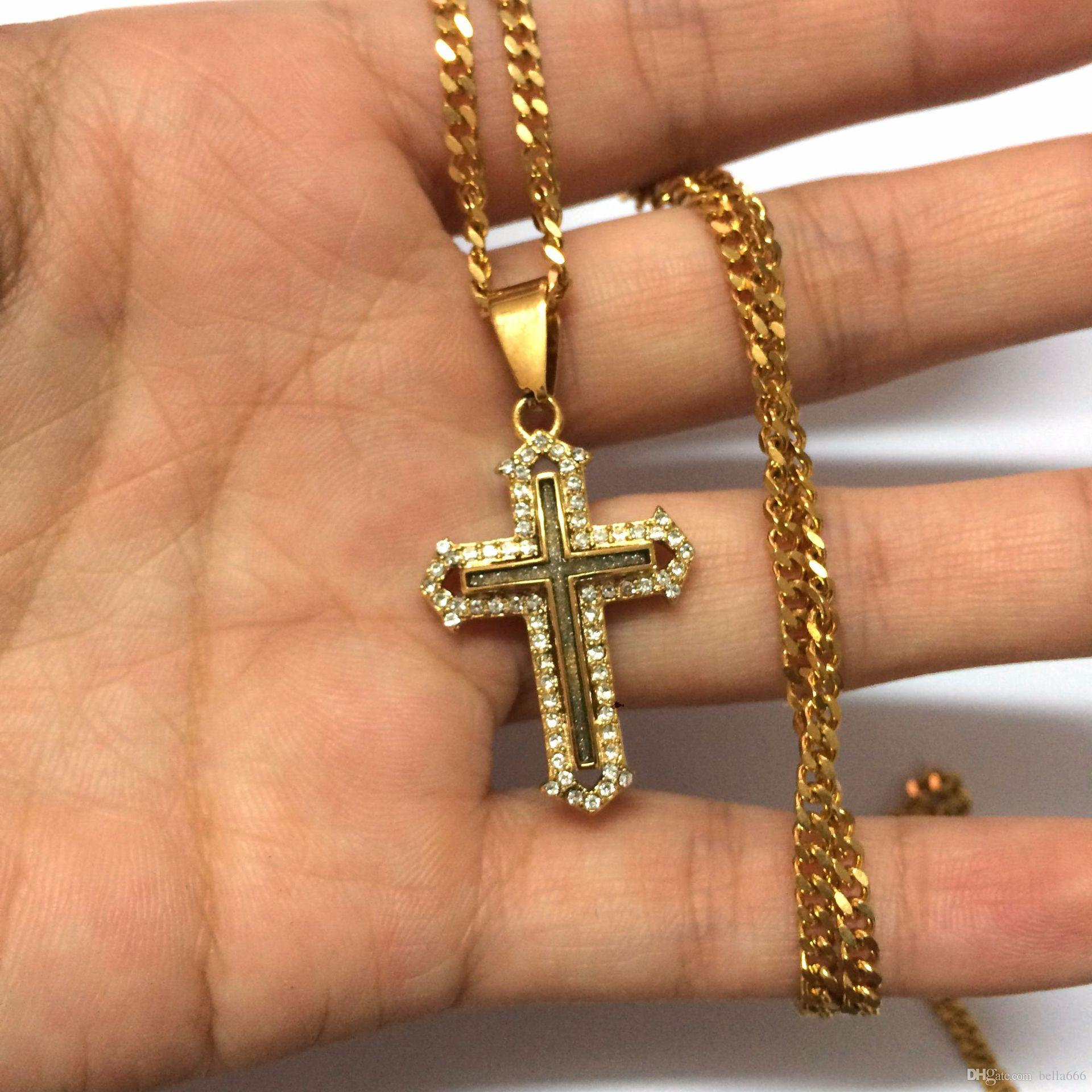 Unisex Hip hop Stainless Steel Hollow Double Cross Pendant Necklace High Grade Gold plated Rhinestone Shiny Mini Charm Pendants Rap Jewelry