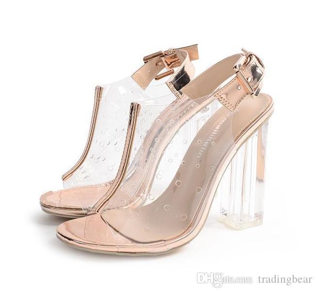toka açık şeffaf yüksek topuk sandalet kadın ayakkabı 2017 ile Özlü ayak bileği kayışı