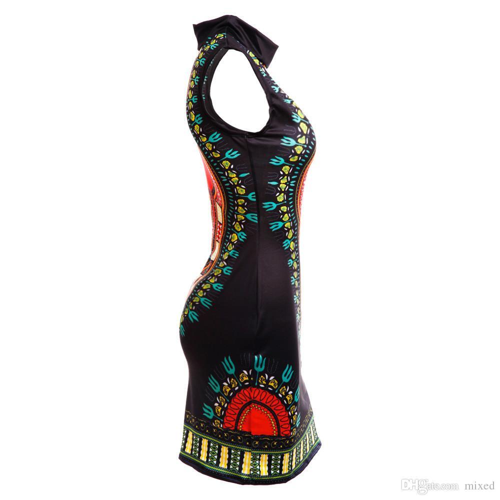 Vestito da estate Sexy Mini African Tranditional Print Dashiki Dress Dress Abbigliamento Folk Art Abiti African Dress Donne Abiti da donna Plus
