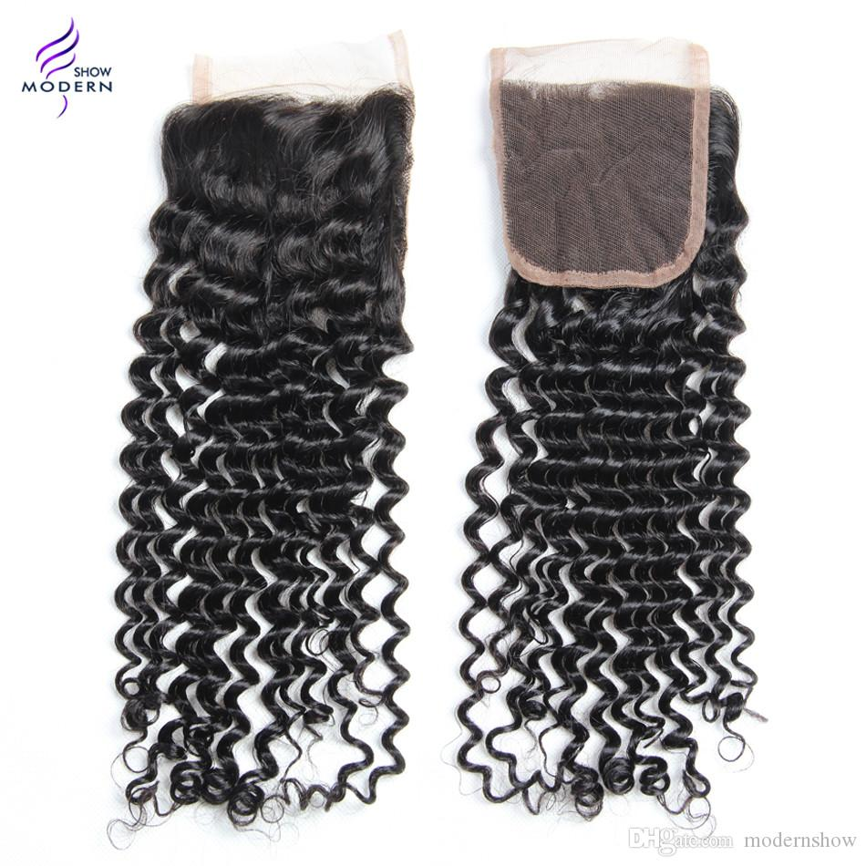 Modern Show Hair Brazilian Curly Wave Virgin Hair Bundles with Lace Closure 3 Bundles Curly Human Hair Weaves with Closure