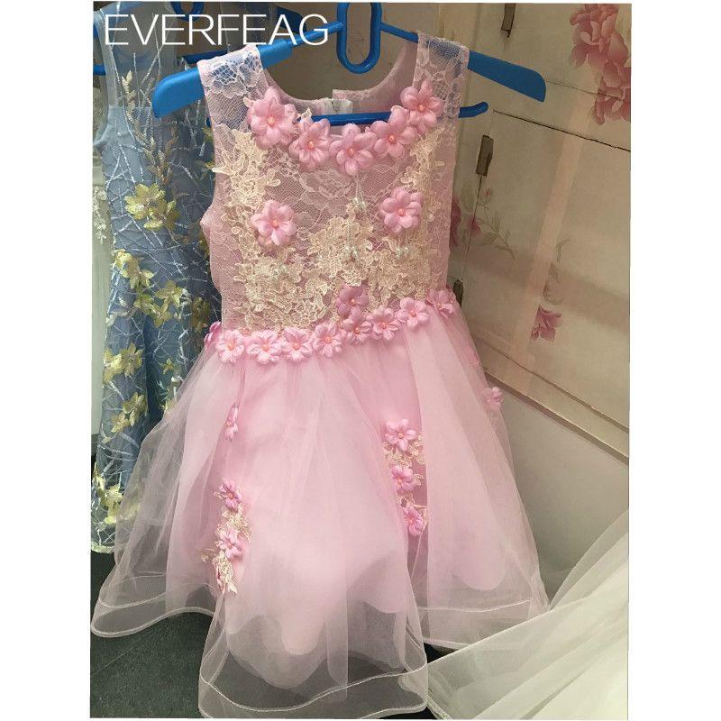 Compre Vestidos Cortos De Las Muchachas De Flor Rosadas Para La Boda ...