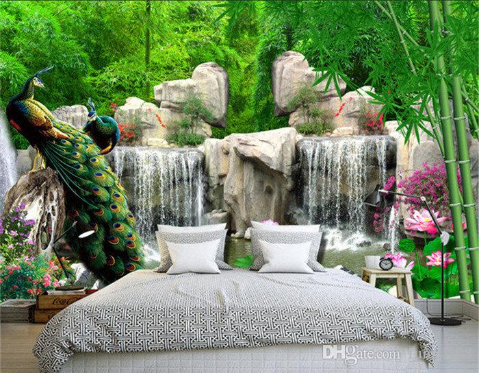 3D Wall Mural Natural Scenery Wallpaper Paisaje Bamboo Forest Falls Habitación de lecho de pavo real 3D no tejido de papel de pared TV fondo