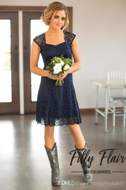 Dark Navy New Country Style Bridesmaid Dresses 2017 Modest Full Lace A Line Knee Length Wedding Guests Wear Cheap Maid Party Dresses