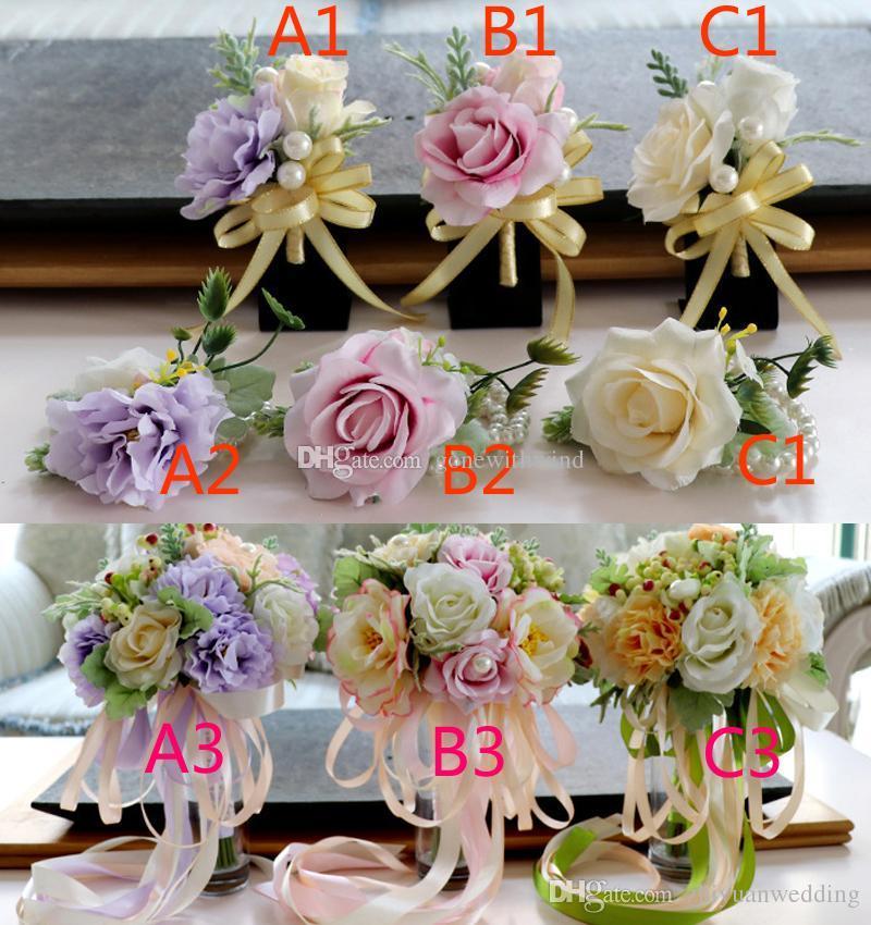 2017 High Quanlity Bridal Wrist Corsage Wedding Bride Bouquet Set ...