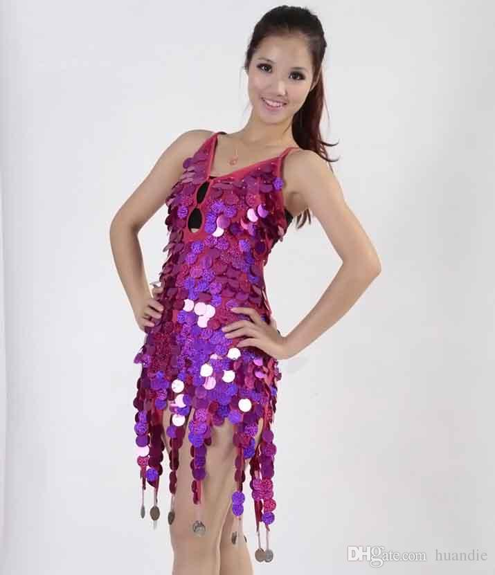 Women's sexy fringe latin ballroom salsa cha cha Samba rumba jive dancewear competition Sequin fancy dress costumes for sale