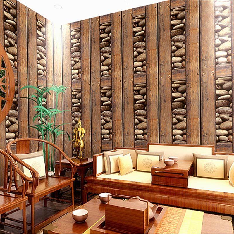 10m PVC Vintage Wall Paper Waterproof 3d Stone Wallpaper Eco-Friendly Paper  3D Wall Panels Vinyl Wood Wallpaper Roll for Walls