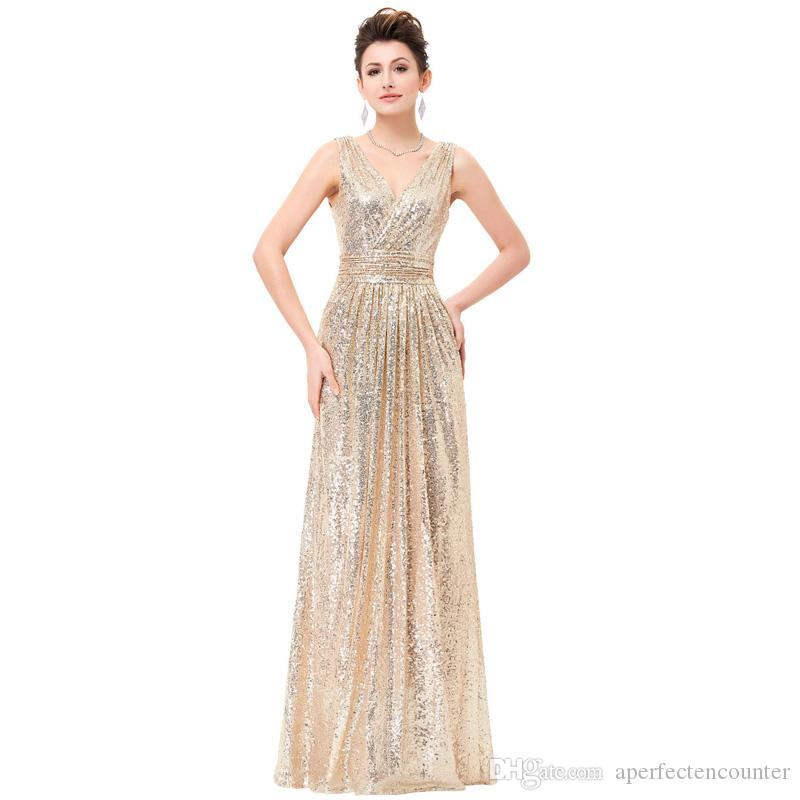 2020 Fashion Champagne Gold Sequin Prom Evening Dress Simple and Elegant Banquet Toasting Sequin Dress Girl Slim and Beautiful Bridesmaid Dr