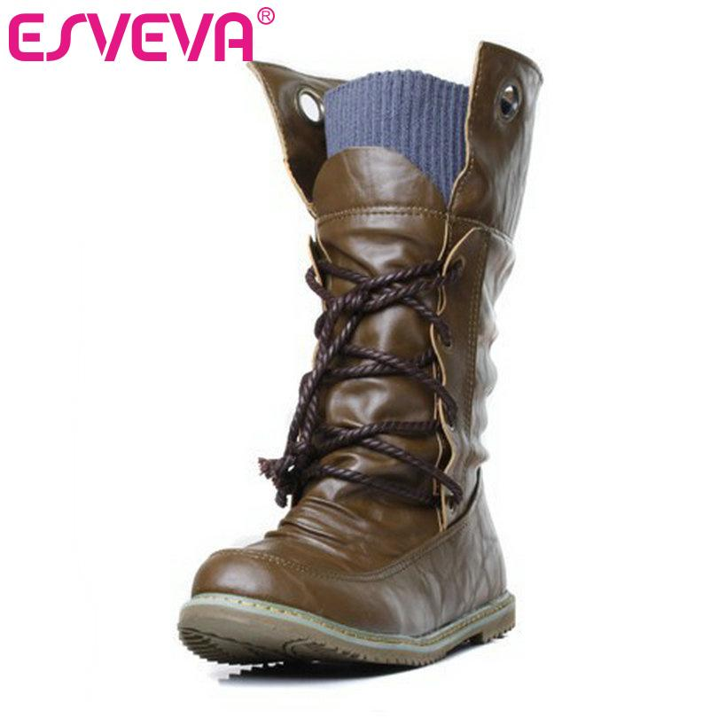 Wholesale ESVEVA Autumn Spring Women Fashion Boots Ladies Cool Mid Calf  Boots Lace Up Motorcycle Boots Winter Women Shoes Womens Shoes Hiking Boots  From ... 0c07fc7f16