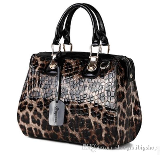 60d5474afdb Aibkhk Women's Cowhide Handbags Fashion Leopard Print Handbag Japanned  Genuine Leather Patent Leather Shaping Bag 100% Women's Ha