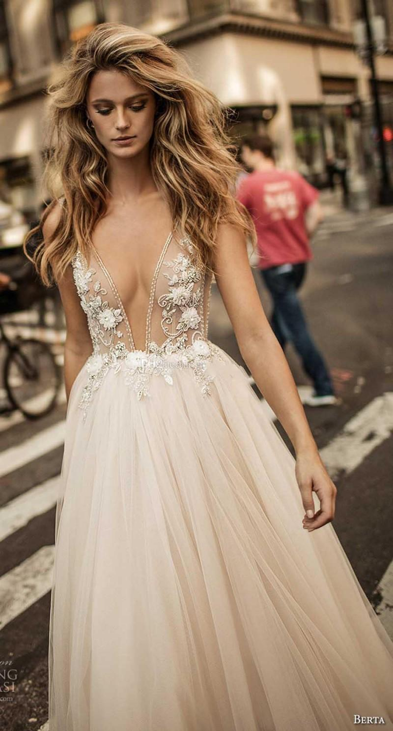 Vestido De Noiva 2017 Berta Bridal Champagne Long Tulle Summer Prom Dresses Sexy Backless V-neck Beads Evening Party Gowns robe de soriee