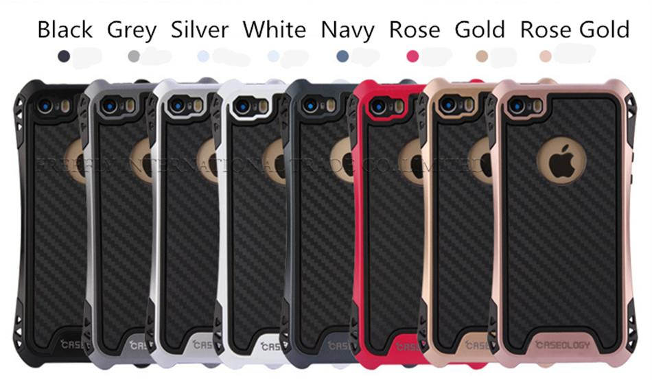 Caseology Case For Iphone 7 Cases Hybrid Armor Case For Galaxy S8 Plus Rubber Shockproof Combo Carbon Fiber Case BackCover OPP Package