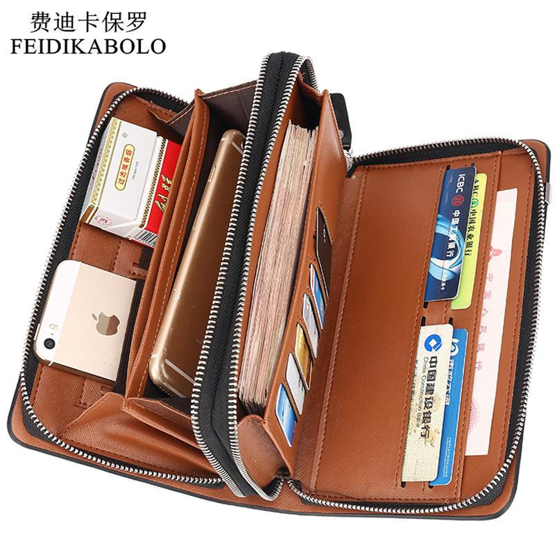 25f5605c17db Wholesale Luxury Wallets Double Zipper Leather Male Purse Business Men Long  Wallet Designer Brand Mens Clutch Handy Bag Carteira Masculina Vegan Wallet  ...