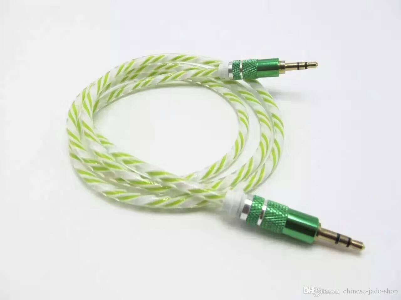Rianbow Kristall Delicate Bold Aluminum Adapterkabel 3,5mm Stereo Audio AUX Kabel 1 Mt 3FT 100 stücke / .