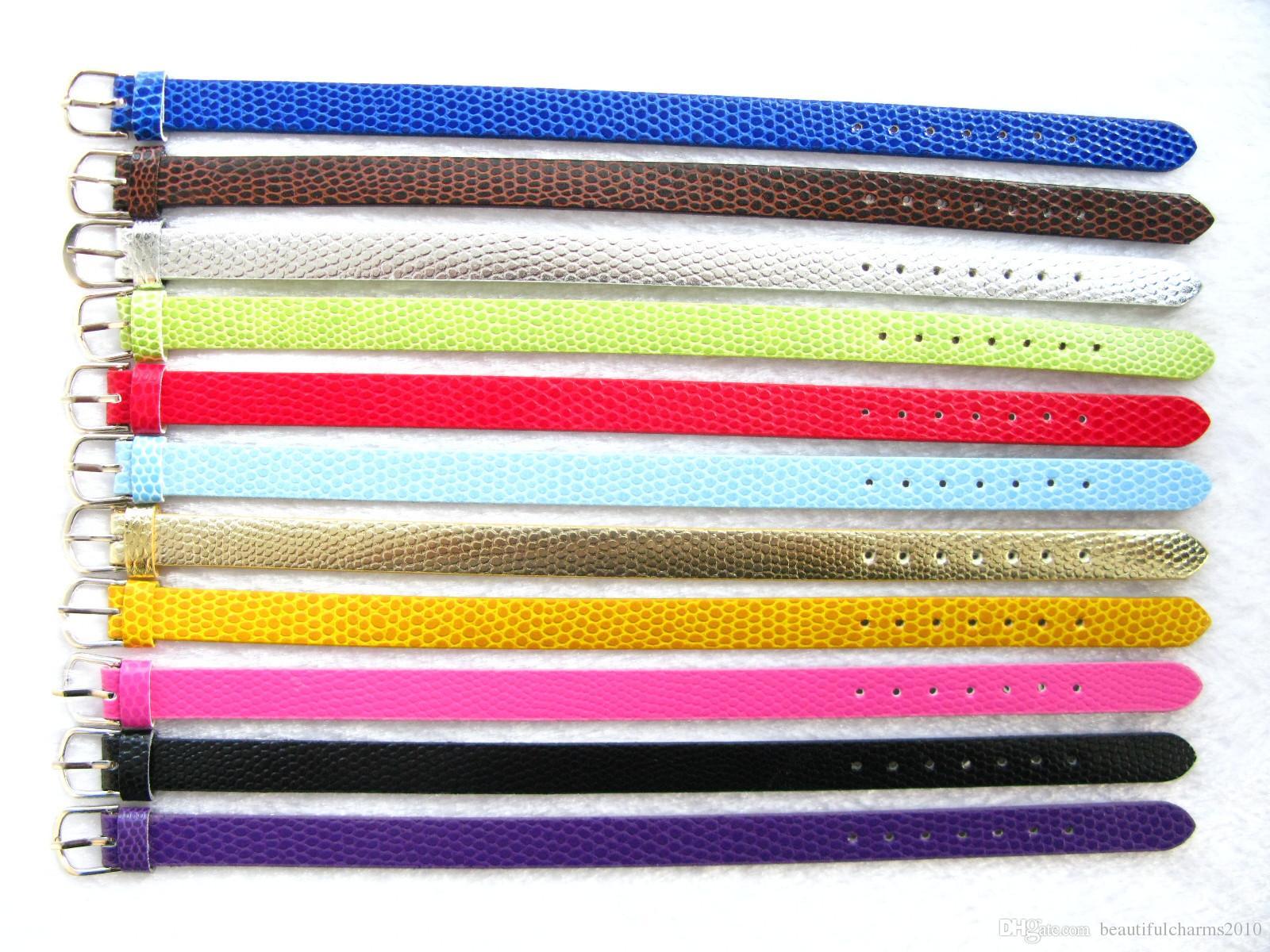 50 tiras de 10 mm de ancho / 21 cm de longitud de cuero de LA PU bricolaje pulsera de pulsera de pulsera de piel de serpiente apta para 10mm encantos de diapositivas de moda de joyería