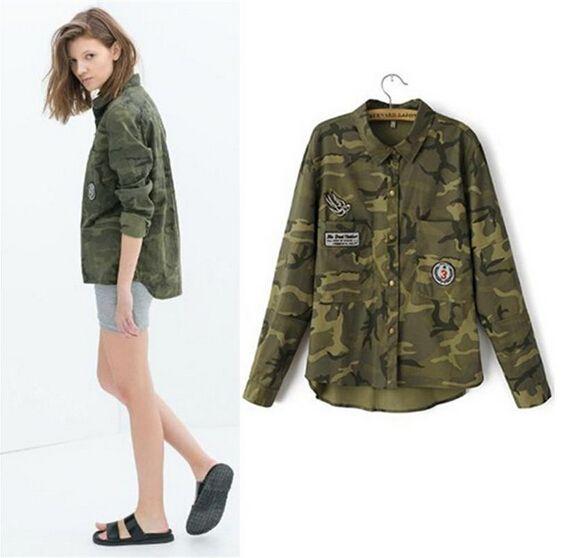 08acfc3fc09 2017 Fashion Women Long Sleeve Camouflage Clothing Shirt Novelty Casual  Slim Embroidery Army Green Coats Jackets Coat Blouses White Jacket Denim  Jackets ...