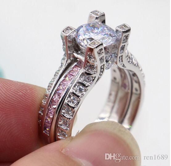 Feiner heißer Verkaufs-Luxusgroßverkauf Berufsart und weiseschmucksachen 10kt Weißgold gefülltes Gf-Rosa Topaz-Hochzeits-Verlobungs-Band-Ring stellte Geschenk ein