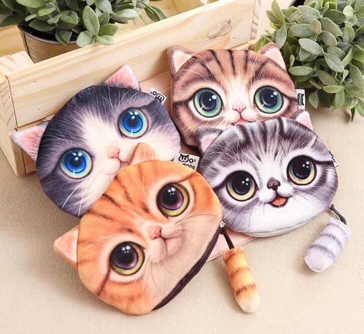 Sevimli kedi sikke çanta bayanlar 3D baskı kediler köpekler hayvan büyük yüz değişimi moda miyav yıldız insanlar karikatür çocuklar için fermuarlı çanta cüzdan