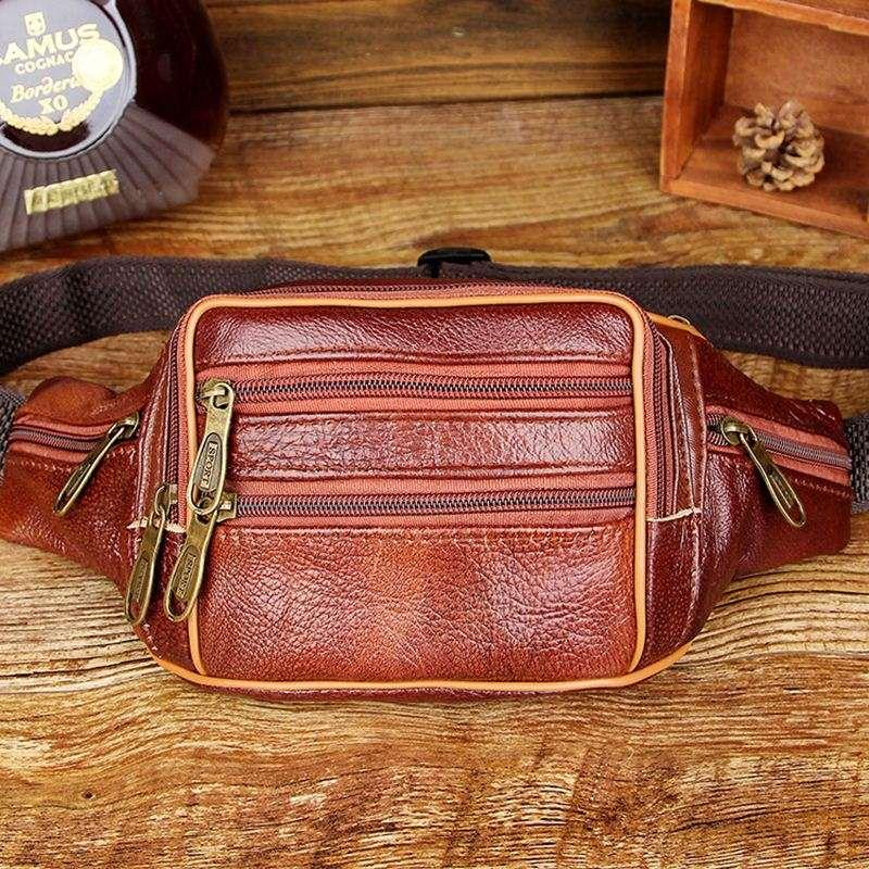 f3c17a11d2c OUTNICE Brand Vintage Retro Genuine Leather Waist Bag Male Fanny Pack Mens  Bum Bags Business and Travel Bags for men women