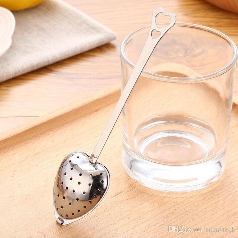 Amour coeur forme style acier inoxydable infuseur à thé cuillère à café passoire cuillère poignée douche thé filtre cadeaux faveurs ZA1386