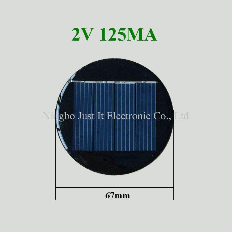 Mini Round Solar Cell 2v 125ma Diameter 67mm Solar Panels