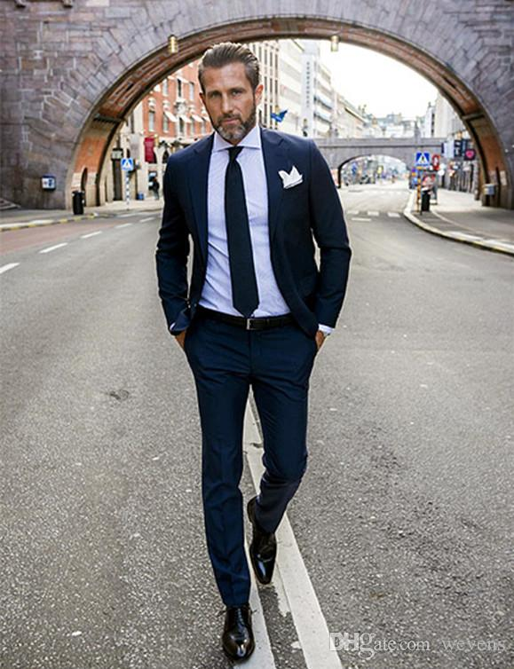 Handsome Navy Blue Wedding Tuxedos Slim Fit Suits For Men Cheap ...